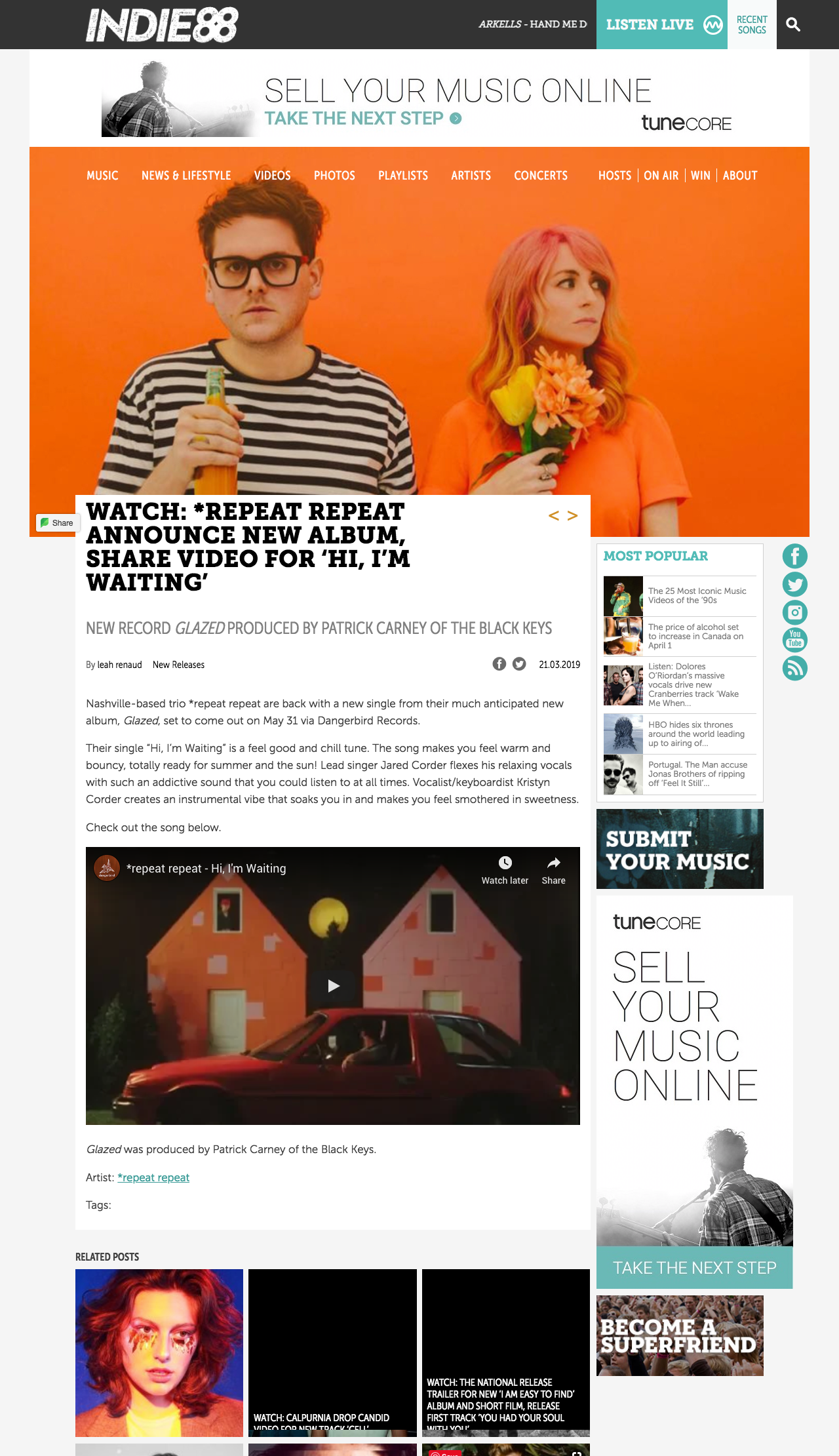 Indie88 Toronto_*repeat repeat announce new album, share video for 'Hi, I'm Wa_ - indie88.com.png