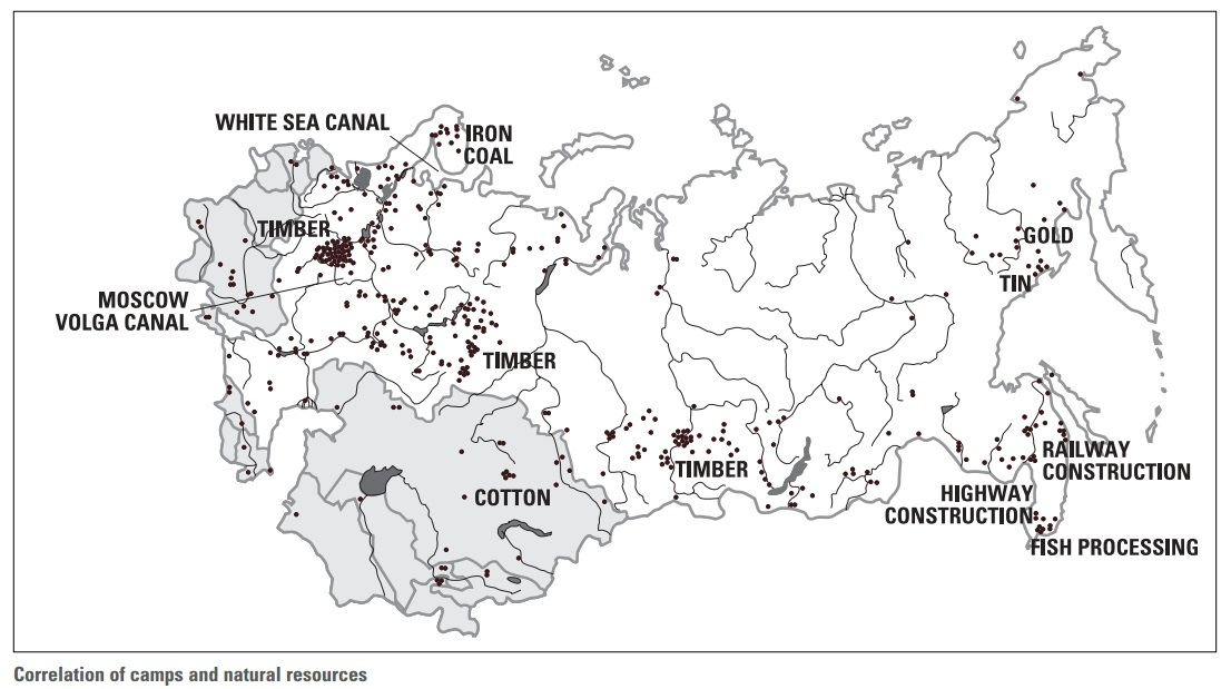A map of Russia that shows the location of  slave-labor camps  throughout the country.