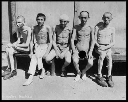 Concentration camp prisoners at Dachau.