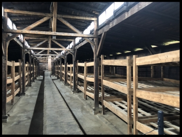 Prisoner barracks at Auschwitz. There were about 8 people on each level of the bunk bed.