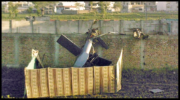 The helicopter that crashed during the bin Laden raid. The SEALs still completed the mission ahead of time because of their countless hours of practice.