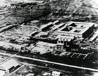 The Unit 731 complex: two prisons are hidden in the center of the main building. Photo:  Wiki