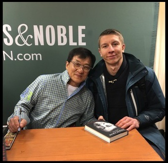 With Jackie Chan at a book signing event in NYC.