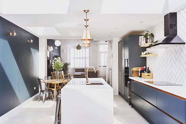 We loved adding touches of copper in this kitchen to give it some subtle bling. Lights from @coxandcox and @madedotcom  #wrenkitchens #herringbonetile #anthracite