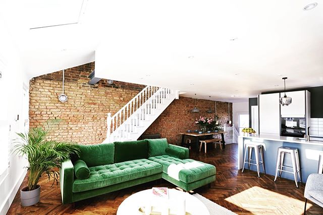 One of the four flats we completed earlier this year in a Victorian building conversion in Brixton. We had fun making the most of the existing features in this period properly - exposing the existing brick wall, recycling the wooden floor into parquet herringbone...all topped off with some contemporary finishes. Emerald velvet couch from our friends @madedotcom #parquetwoodflooring #herringbonefloor #exposedbrick #velvetcouch