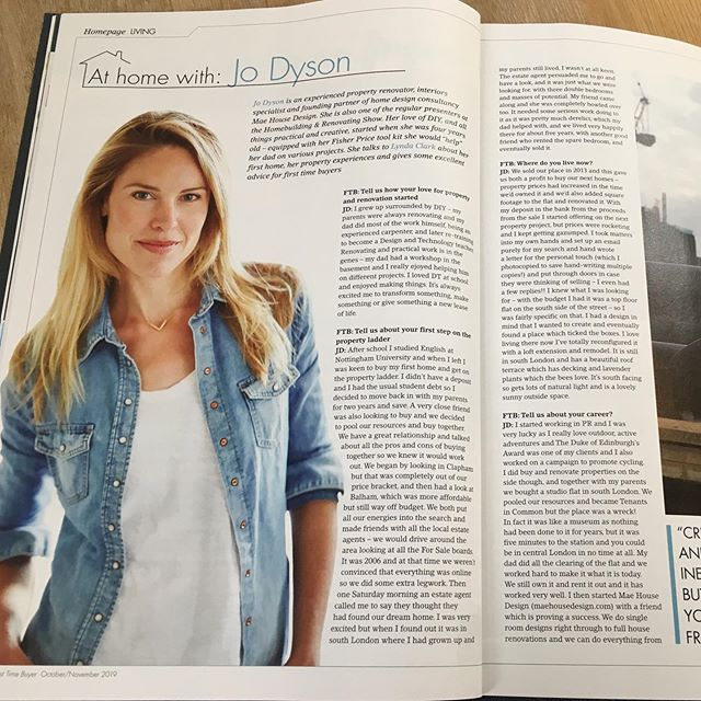 Our partner @miss_jo_dyson is featured in the Oct/Nov issue of First Time Buyer magazine. Grab a copy to get some top tips on getting onto the property ladder and how to renovate on a budget 👍🏻 @firsttimebuyermag #homerenovation #HBRshow19