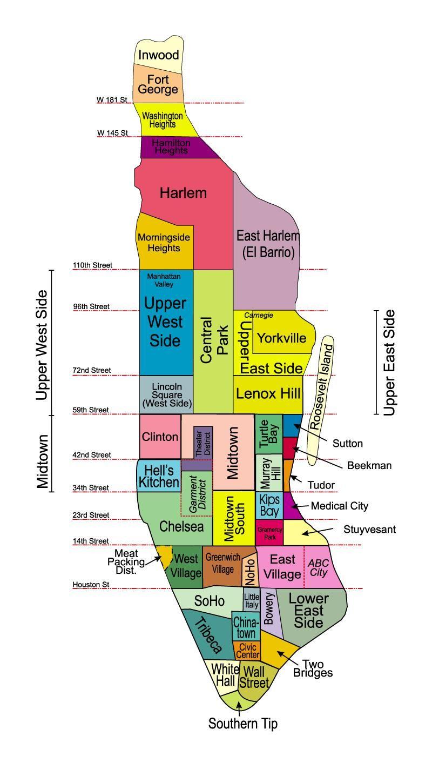 Map of Manhattan, with neighborhoods