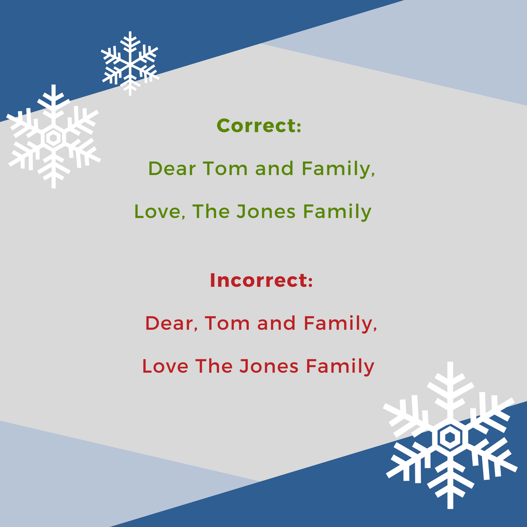 Commas in Holiday Cards