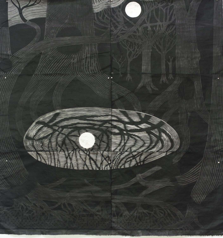 Bayard Condon,  NWSE I , 2016, woodcut and sumi ink on kozo paper, 180 x 185cm