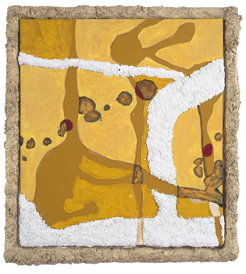 Rowan McGinness,  Yellow painting with frame , 2017, mixed media on felt, artists frame, 118 x 108 x 8 cm