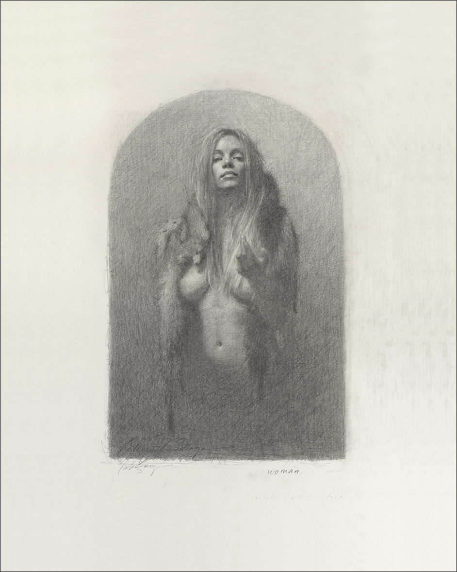 Woman , 11 inch x 7 inch image on 16 inch x 20 inch paper, $300