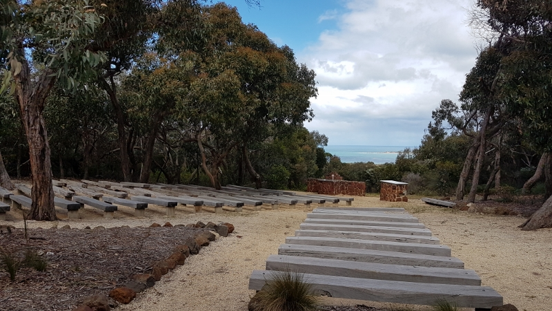 Looking towards the 'altar' with the ocean in background