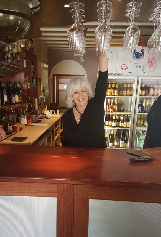 Here I am pretending to 'work the bar' at Rochelle and Justin's Surprise Wedding