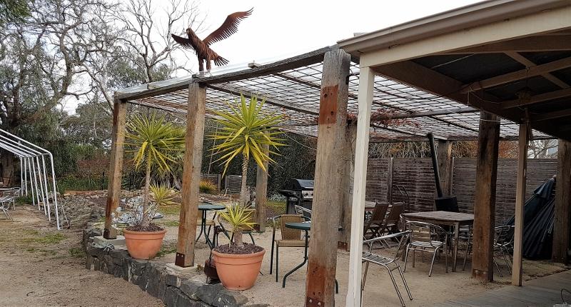 Entertaining area overlooks vineyard and Moorabool valley