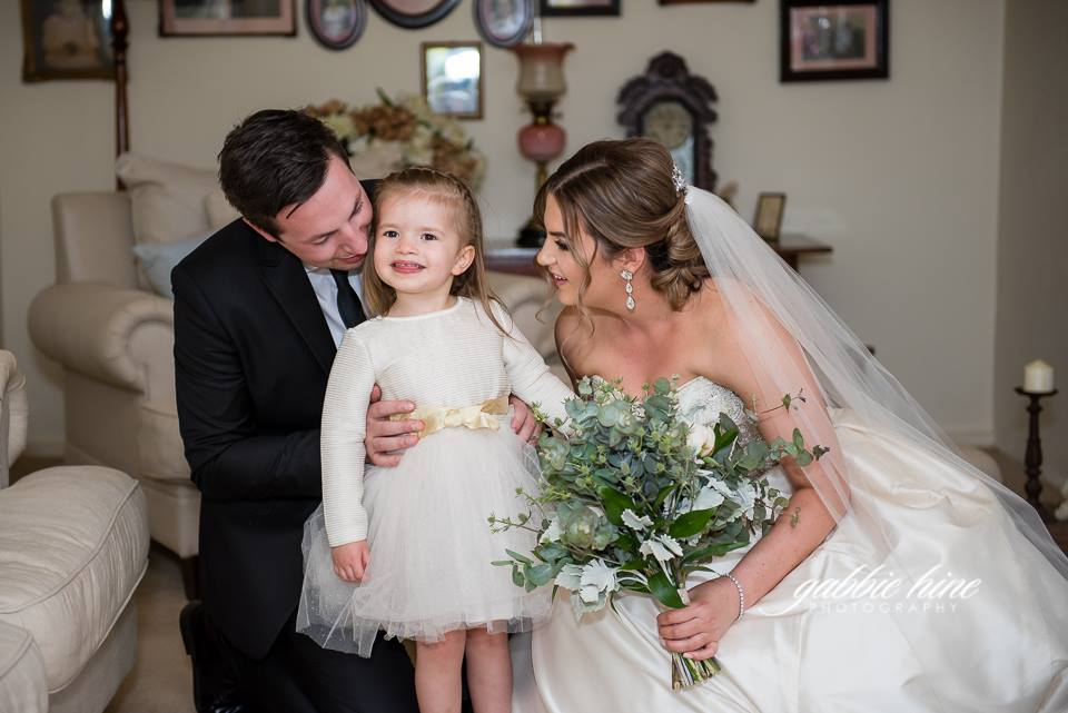 Annie and Tom included their immediate family in their 'first look. Annie's sister Margot looks totally relaxed, lol.   Photography    Gabbie Hine Photography