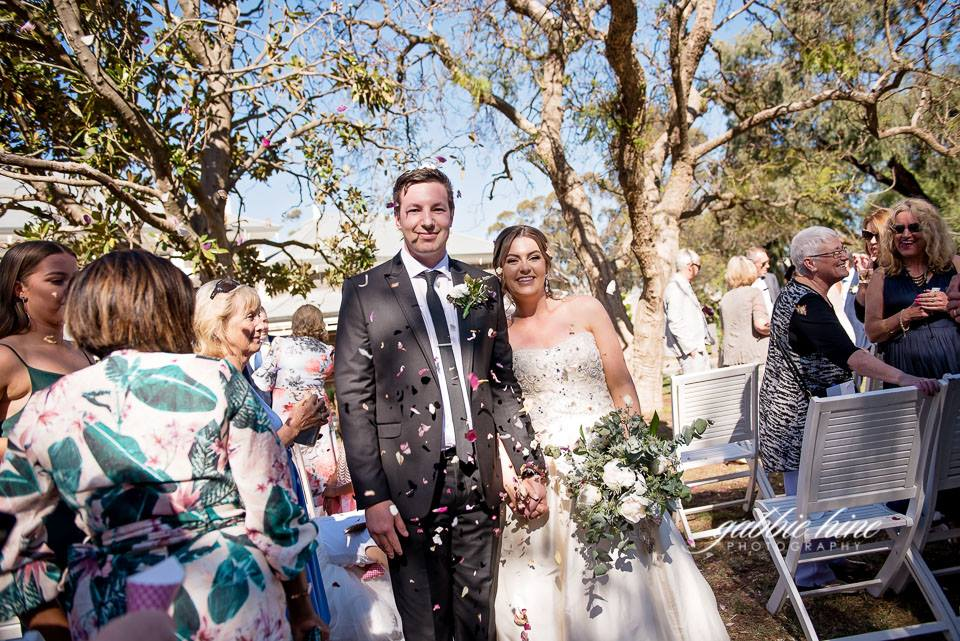 Annie and Tom ready to join their guests   Photography    Gabbie Hine Photography    Venue    Eynesbury Homestead