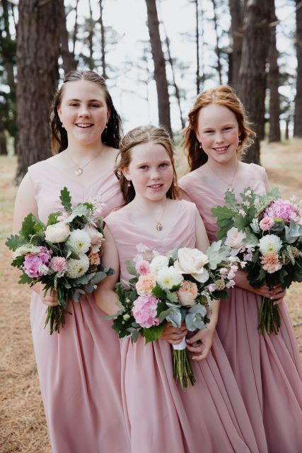 Flowergirls, Gemma's gorgeous cousins, Sophie, Charlize and Jazmine in blush pink.