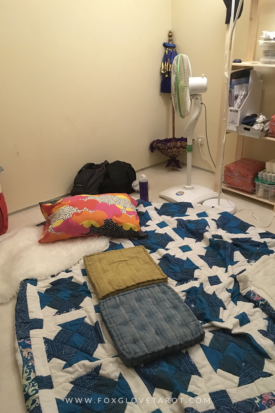 Early sleeping situation. I had to sleep on the floor because there's mildew on my bed too.