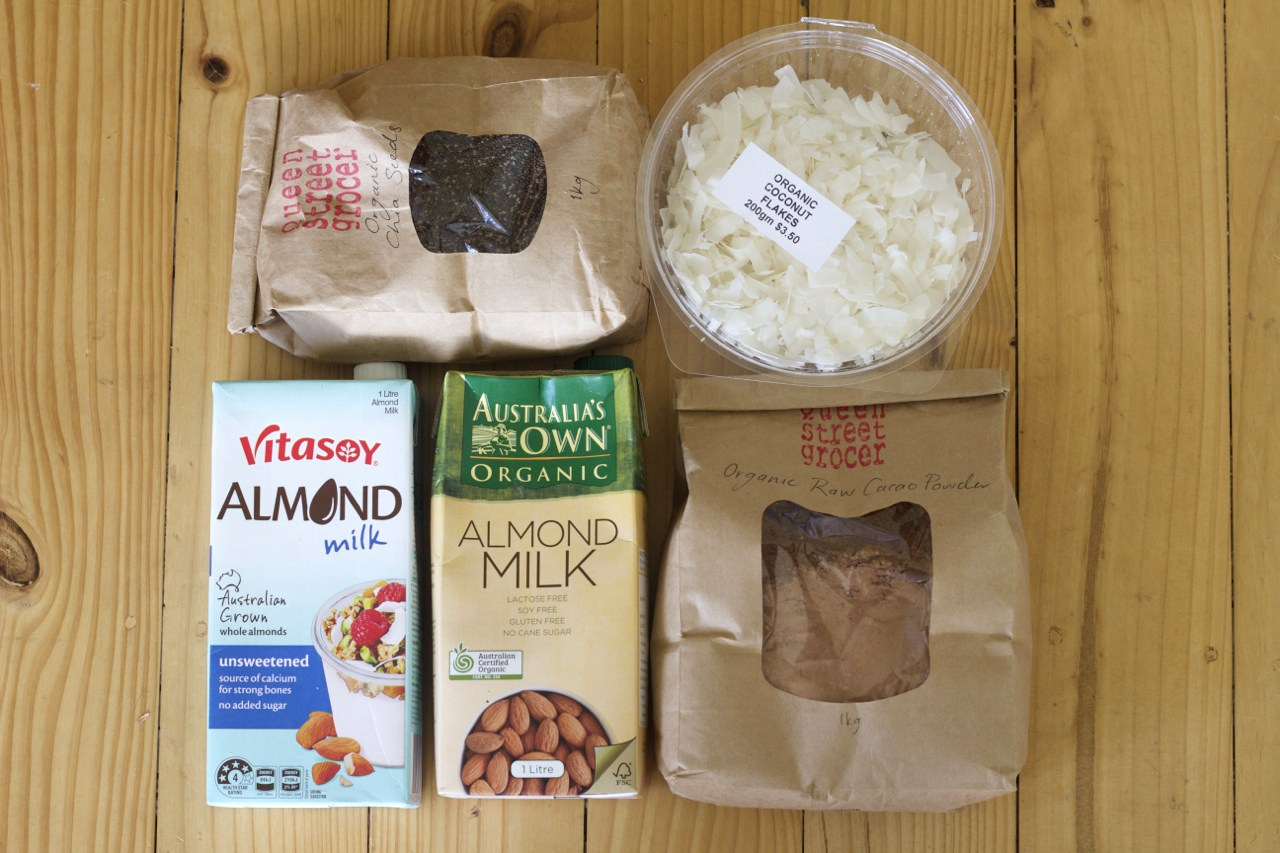 Some nut milk smoothie options from the pantry…