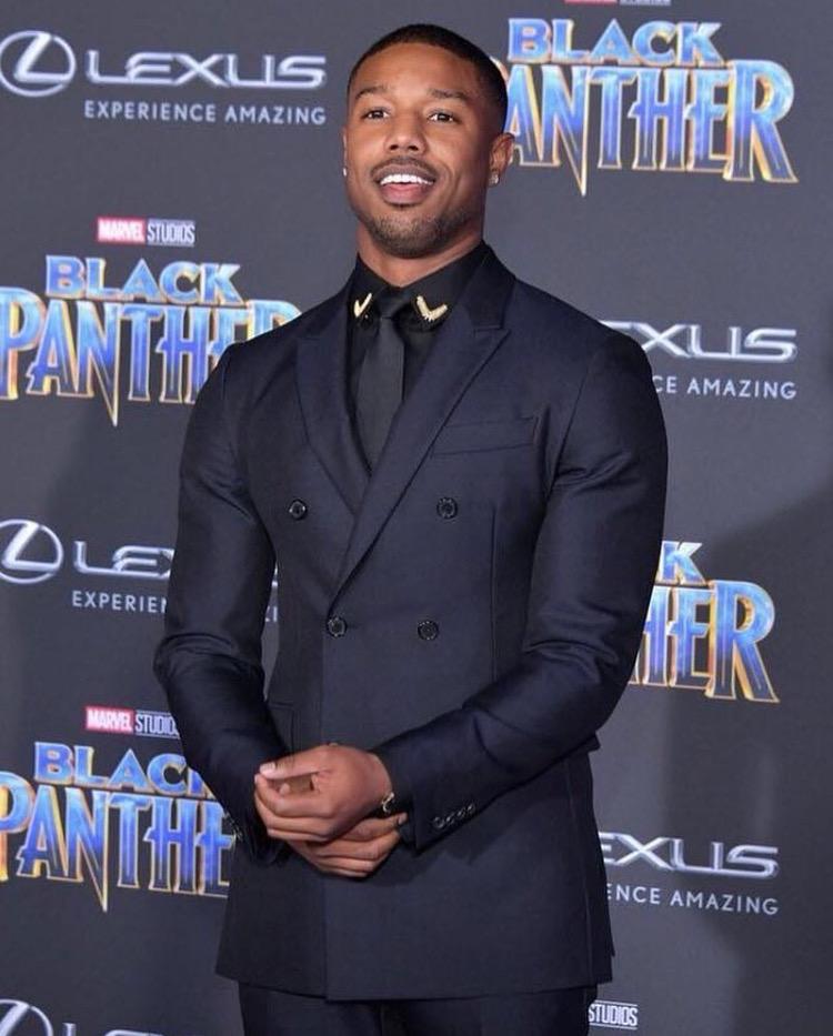 Michael Bakari Jordan at the Black Panther priemere
