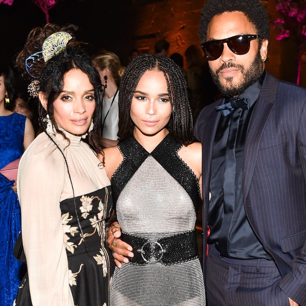 Zoe Kravitz (middle) posing with her mother (Lisa Bonét), father (Lenny Kravitz), and cheekbones (custom made on Mount Olympus).