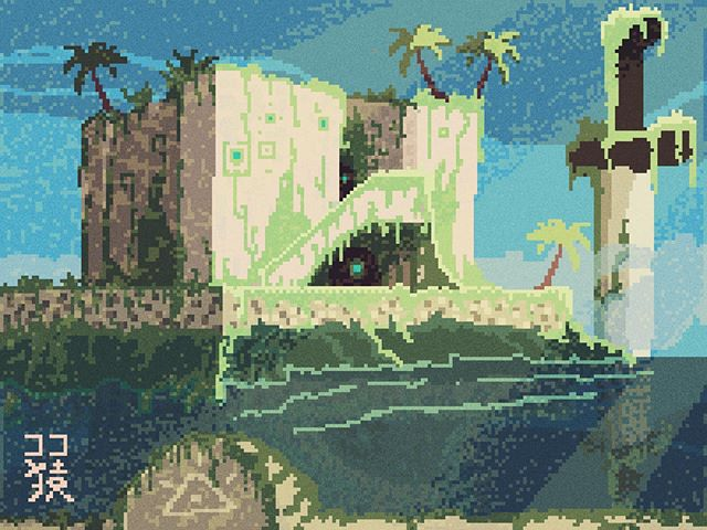 The Chorrera of Malecón 🌳🌴🌊☀️ descansando en la naturaleza cuando ya no quedan humanos (o quizás si 🙂) • • • 🎹 by @caribbeanseasound 🌴🌊🎼 • • Art for @3headmonkey_mythology • • 🕋 @madewithunity 🕋 • • • • #pixel #pixelart #unity3d #havana #malecon #lachorrera #cocomonki