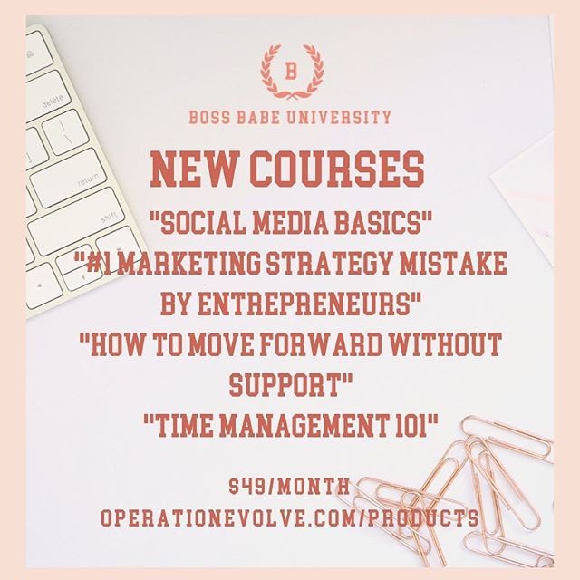Boss Babe University is so excited to announce that our first round of courses have been uploaded to the portal.  If you have been in business for less than three years, you definitely want to invest in Boss Babe University. Courses are taught by Strategist Jessica C. Alexander @jessica alexander who has been in the branding and marketing field for 10 years and has managed campaigns for clients such as Nissan, Columbia Sportswear, Kitchen Aid, Verizon, Microsoft, and Ciroc. Registration is $49/month and you will have access to on-demand trainings, a private Facebook group, and your brand is going to stand out in its industry.  Please send an email to info@operationevolve.com with any questions. We are looking forward to seeing you in class!  #bossbabeuniversity #bossbabe #bossbabeu #bossup #branding #marketing #media #management #money #mindset #jessicacalexander #educate #empower #evolve #empowerment #goaldigger #goals #networking #buildyourbrand #brandstrategist #operationevolve #bossbabesbrunchtour #elevate #business #entrepreneur #entrepreneurship #professionaldevelopment #personaldevelopment