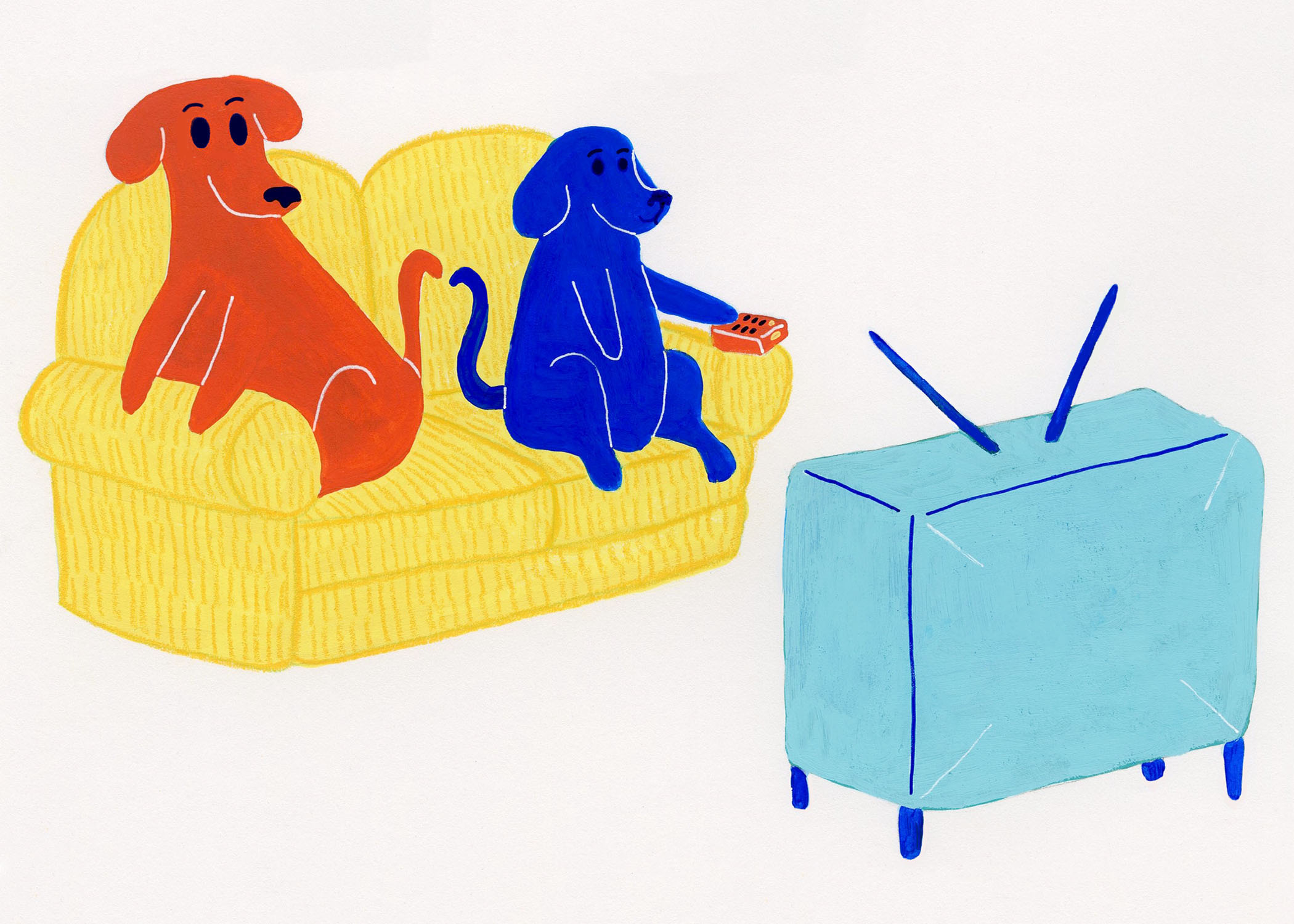 Dog Cards- TV Blue and Red Dog Sitting 5x7.jpg