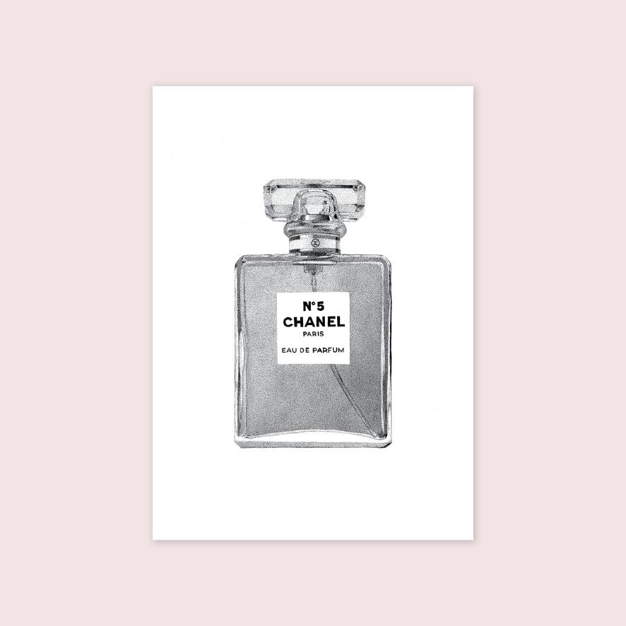 Chanel perfume stipple artwork illustration