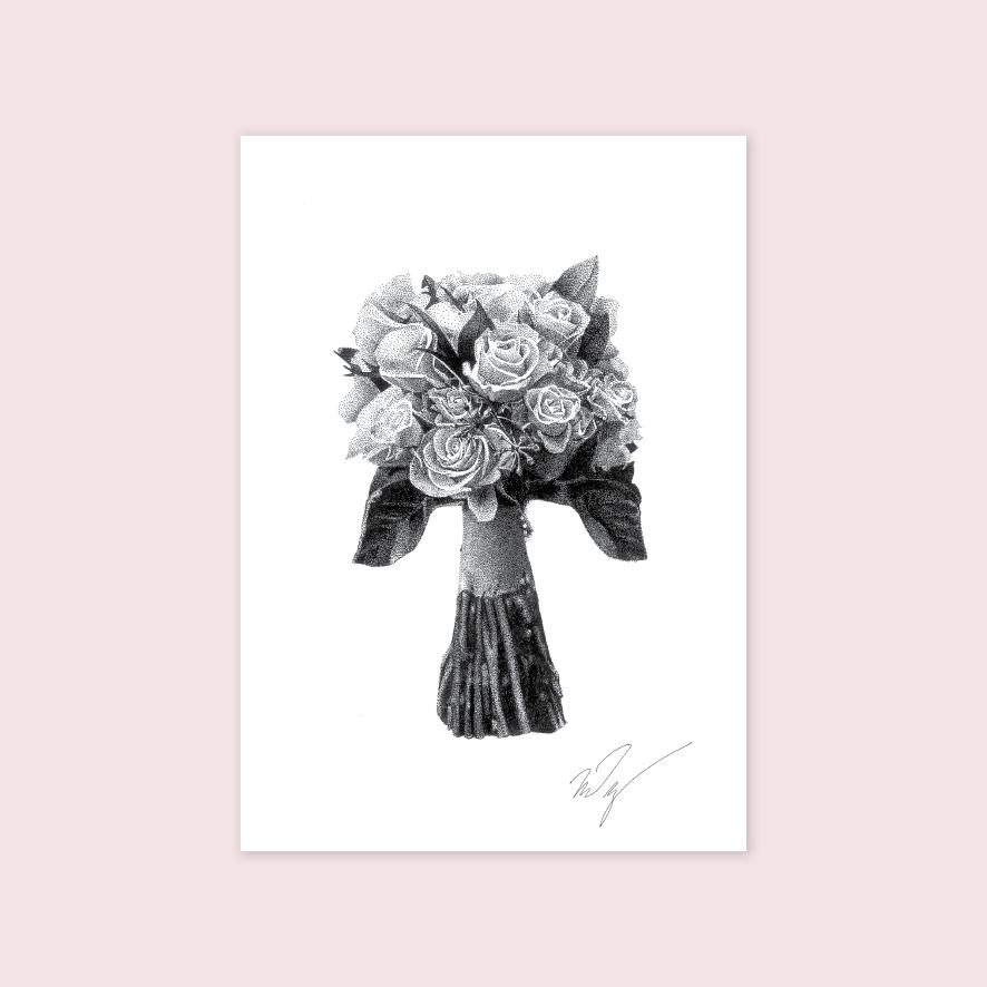 Flowers stipple artwork illustration