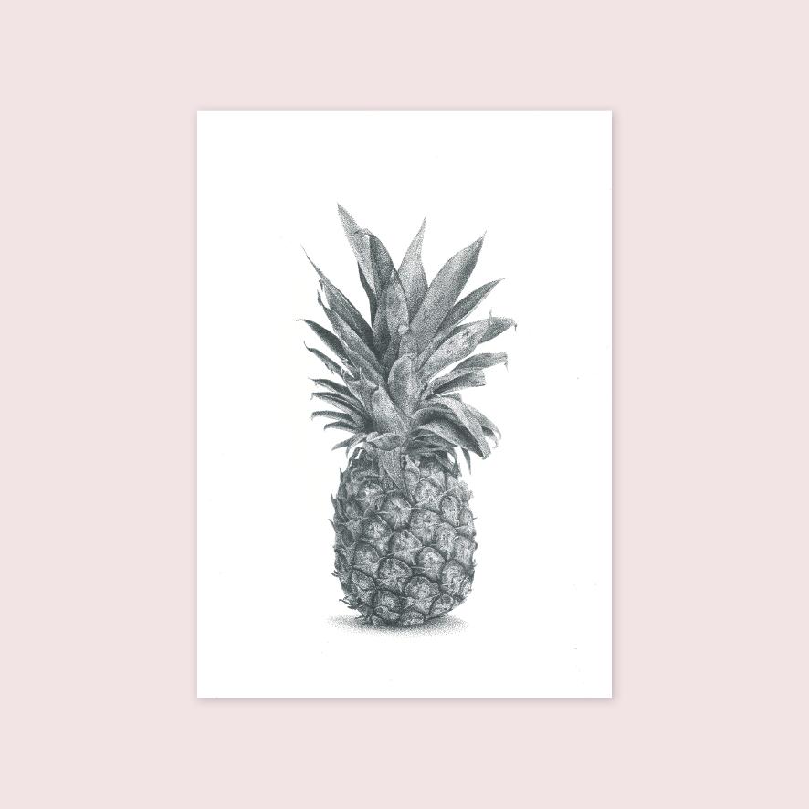 Pineapple stipple artwork illustration