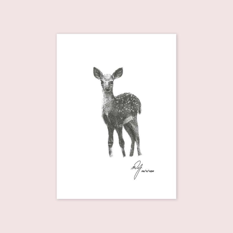 Deer stipple artwork illustration