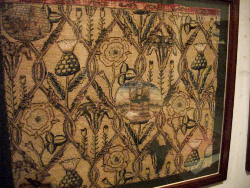 A detail of a piece of   embroidery,   said to have been worked on by Mary, Queen of Scots, at Hardwick Hall.