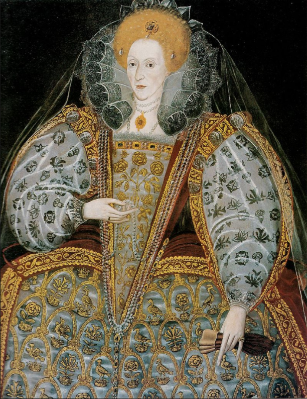 Elizabeth I Source:https://commons.wikimedia.org/wiki/User:PKM/16th/2#/media/File:Elizabeth_I_Unknown_Artist_British_School_c._1600.jpg