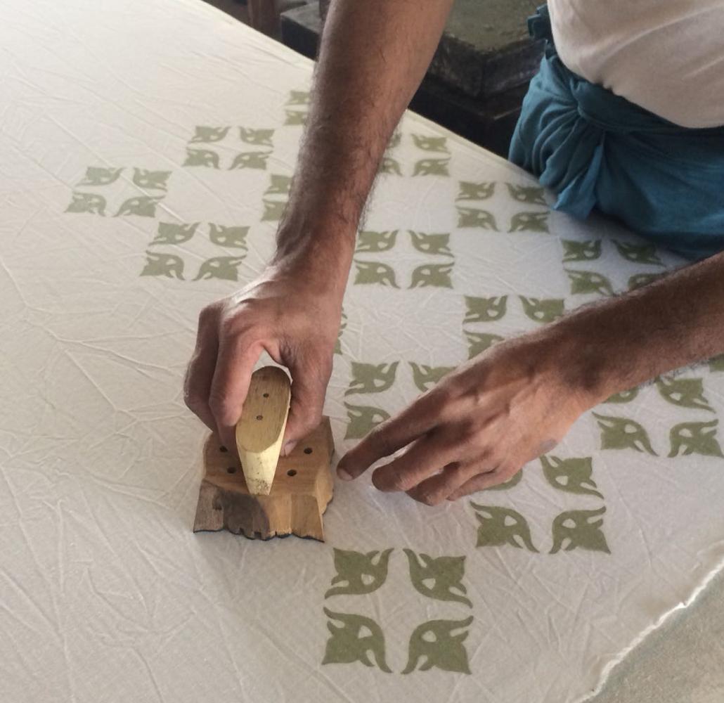 Block printing one of Matilda's designs in India