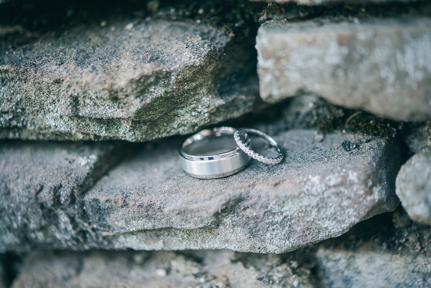 NH Wedding Photographer: wedding bands on rocks