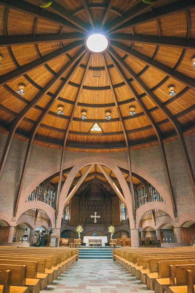 NH Wedding Photographer: inside chapel at Saint A's