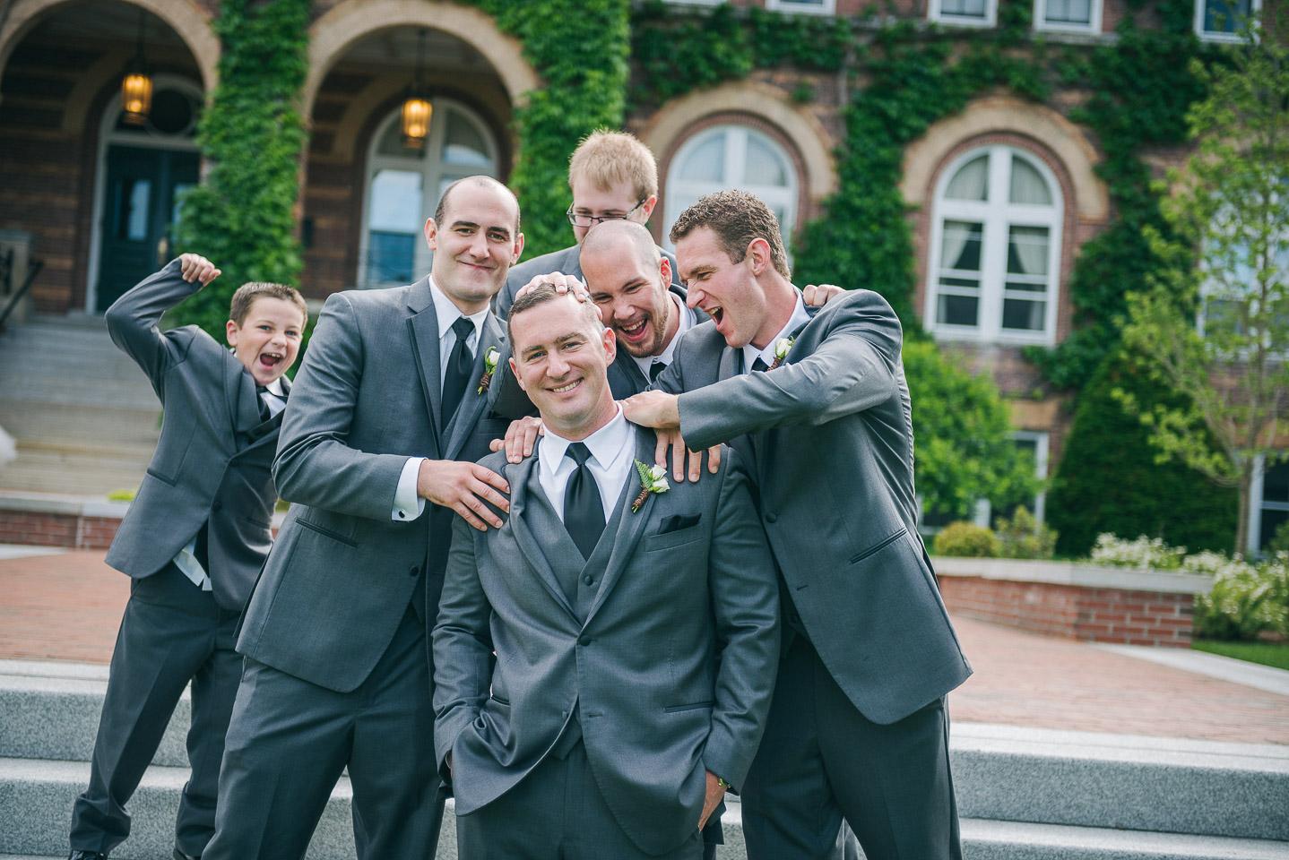 NH Wedding Photographer: groom with groomsmen