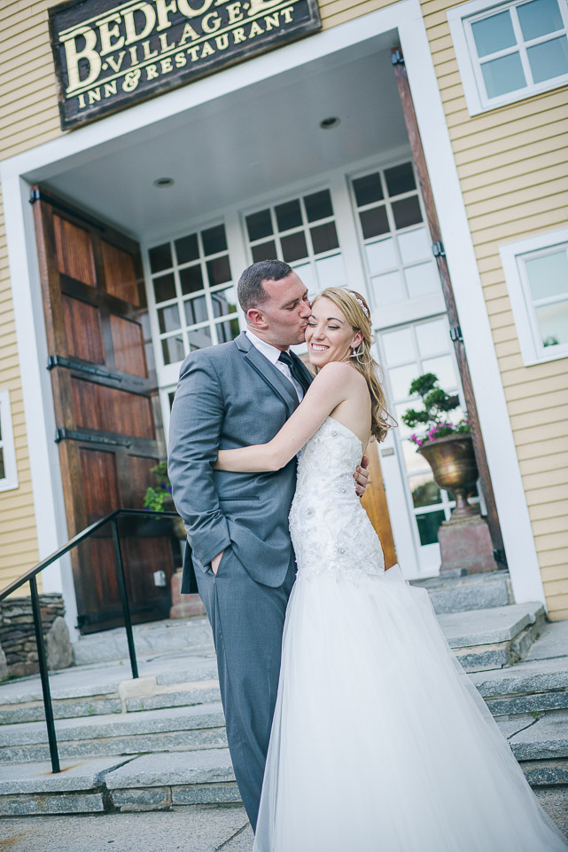 NH Wedding Photographer: in front on granite steps