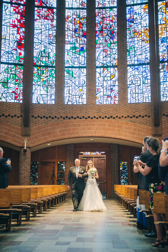 NH Wedding Photography: bride walking with father processional