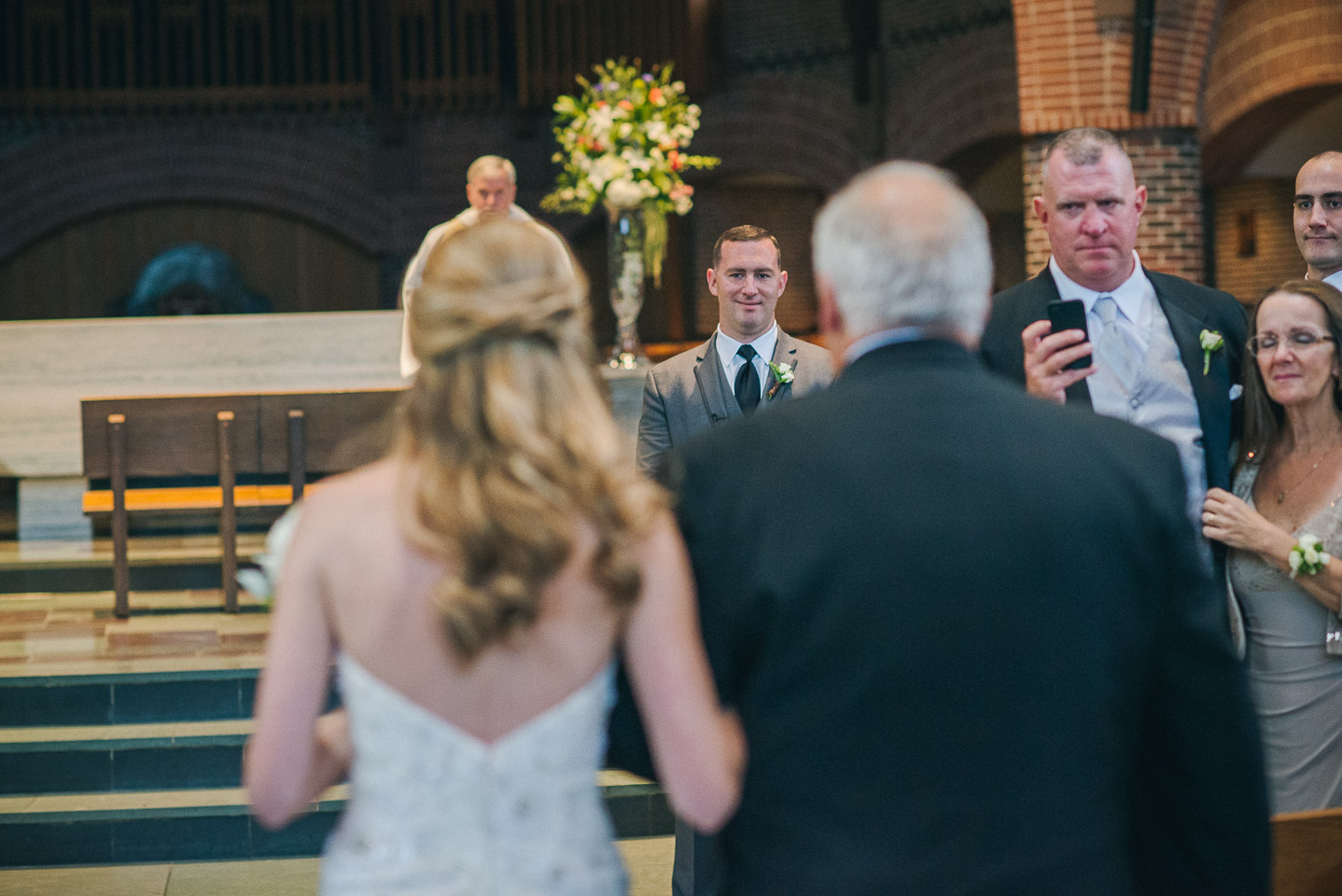 NH Wedding Photography: groom seeing bride first time