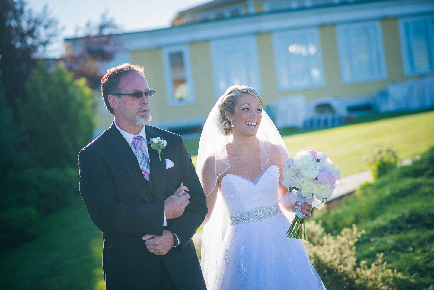 NH Wedding Photography: bride walking with dad
