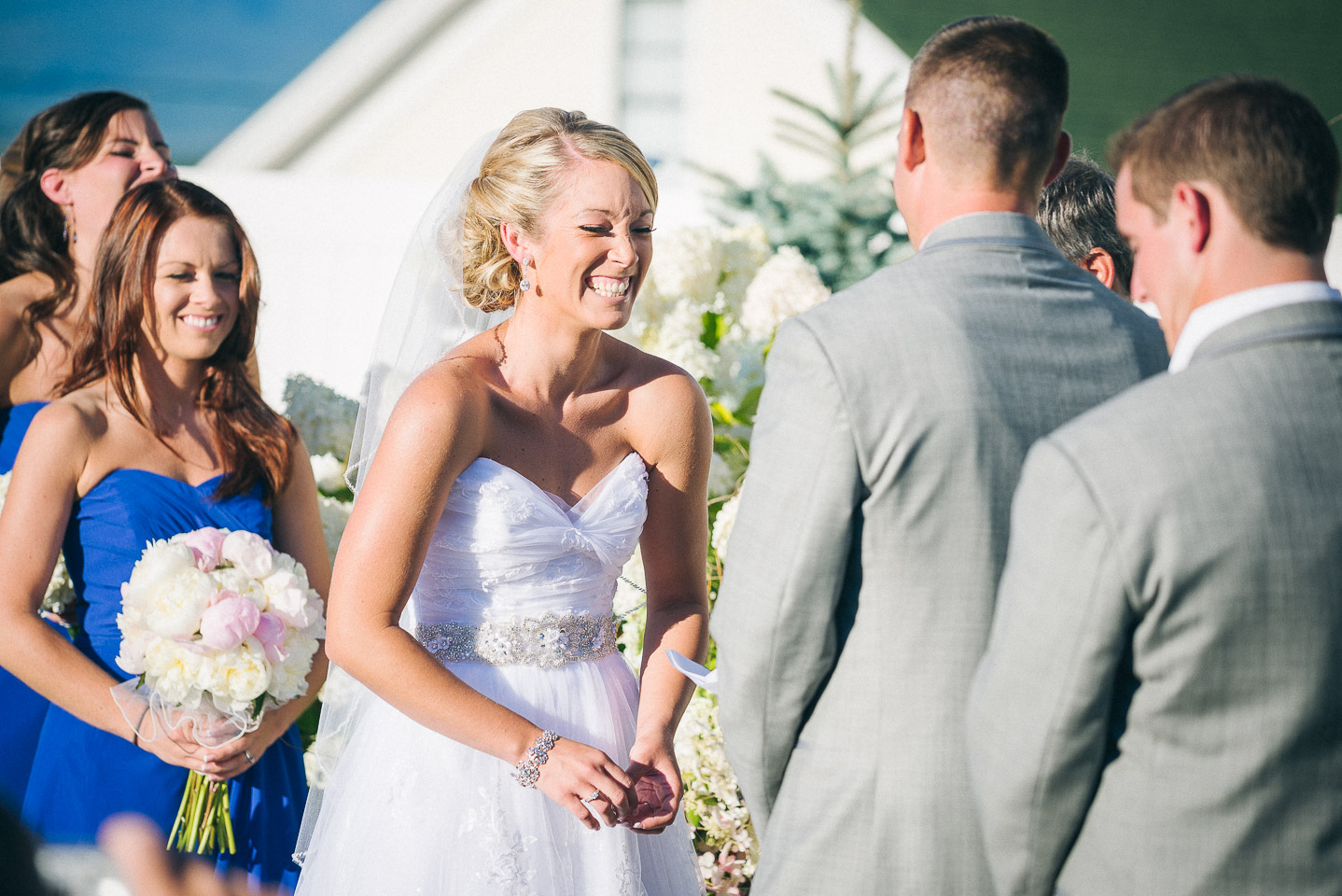 NH Wedding Photography: bride looking at groom