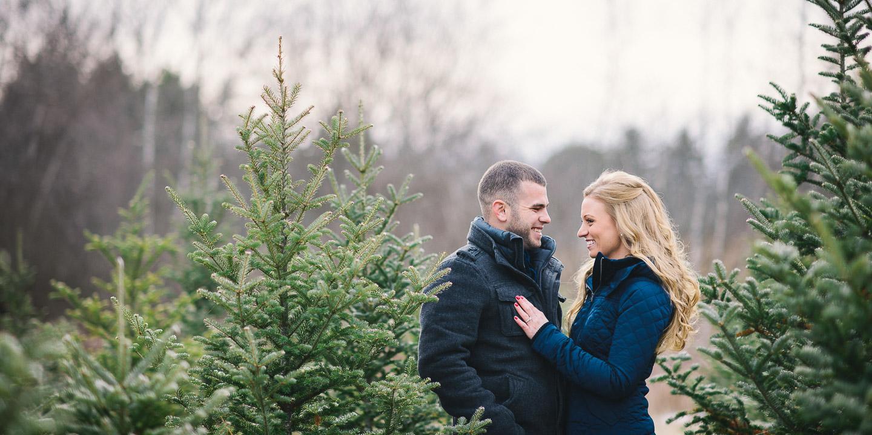 NH Wedding Photographer: Christmas tree farm engagement session