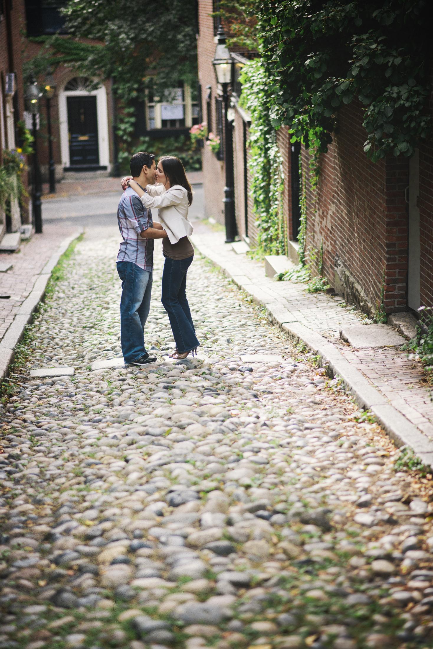 NH Wedding Photographer: Acorn Street Boston engagement session