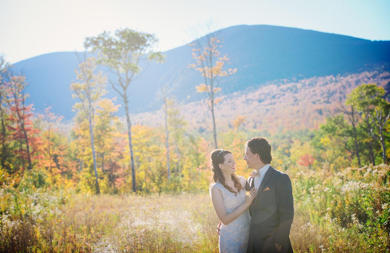 NH Wedding Photographer: Sugarloaf Maine wedding couple