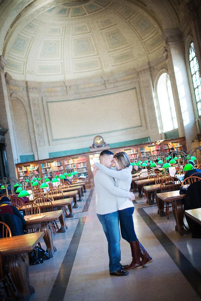 NH Wedding Photographer: Boston Public Library engagement category