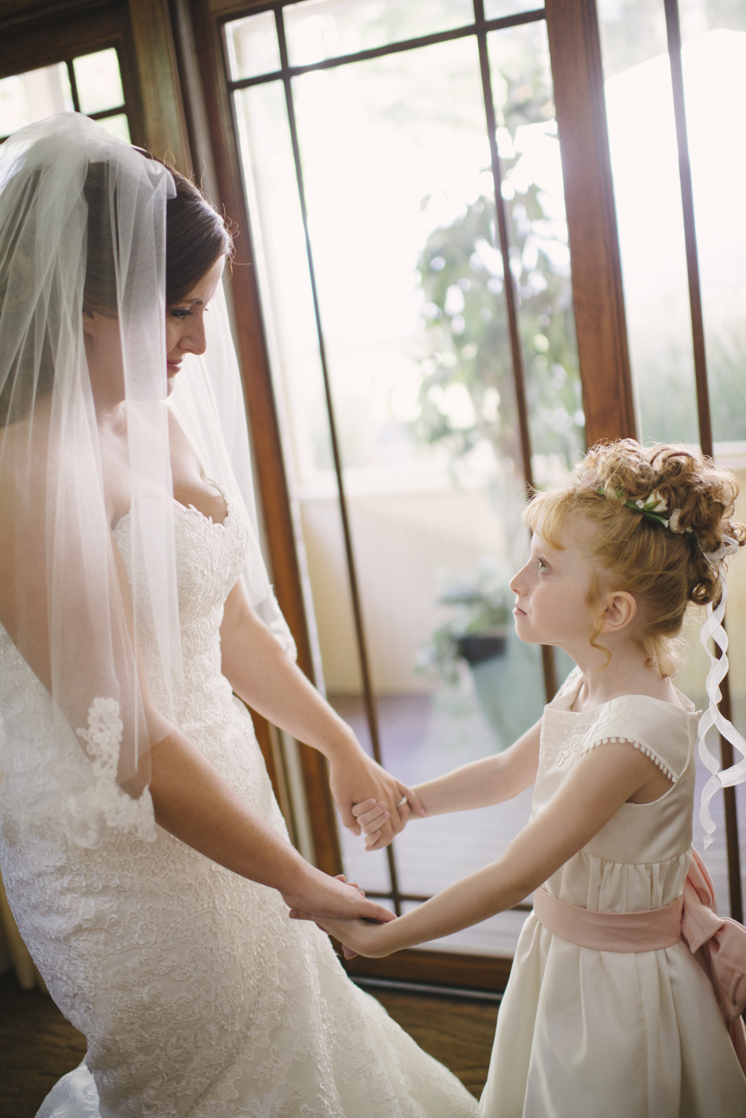 NH Wedding Photographer: bride with flower girl