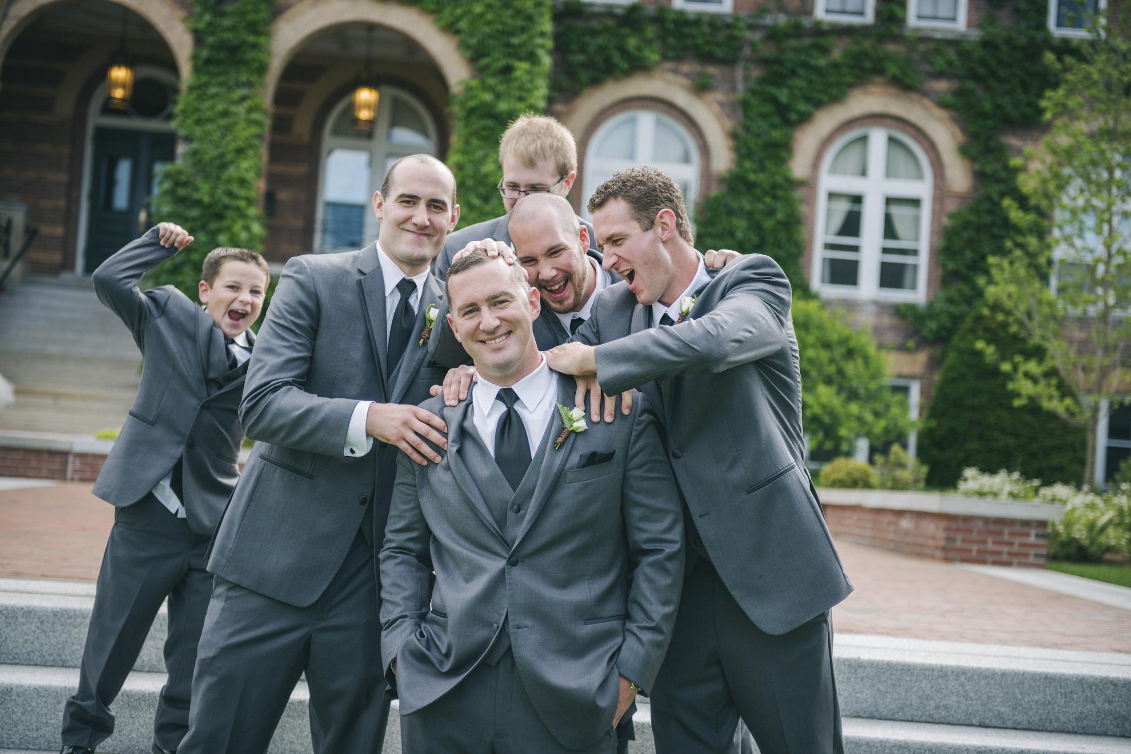 NH Wedding Photographer: groomsmen at Saint Anselm College
