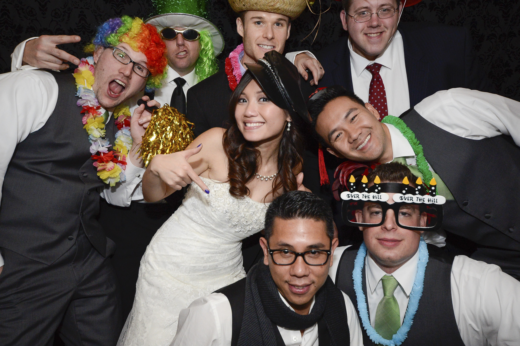 NH Photo Booth: Bride and groom with bridal party